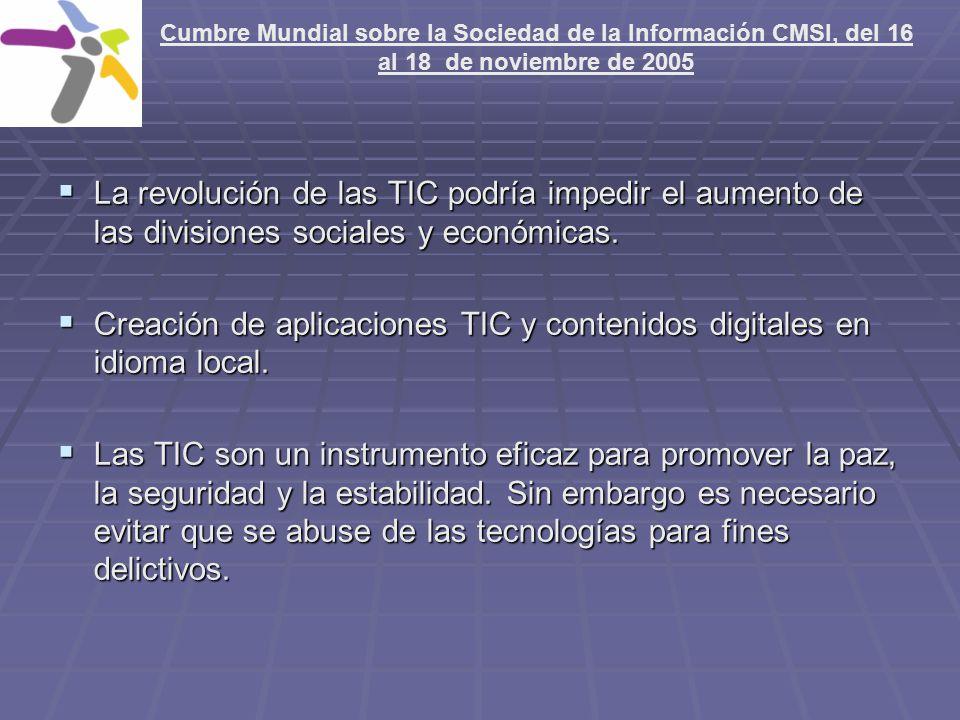 La revolución de las TIC podría impedir el aumento de las divisiones sociales y económicas.