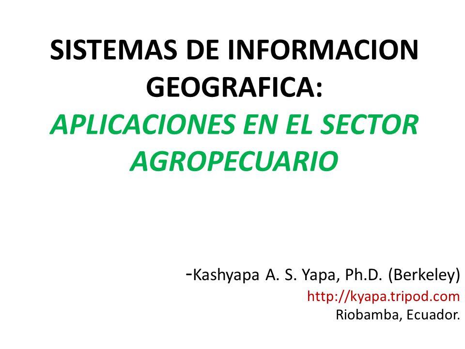 SISTEMAS DE INFORMACION GEOGRAFICA: APLICACIONES EN EL SECTOR AGROPECUARIO - Kashyapa A. S. Yapa, Ph.D. (Berkeley) http://kyapa.tripod.com Riobamba, E