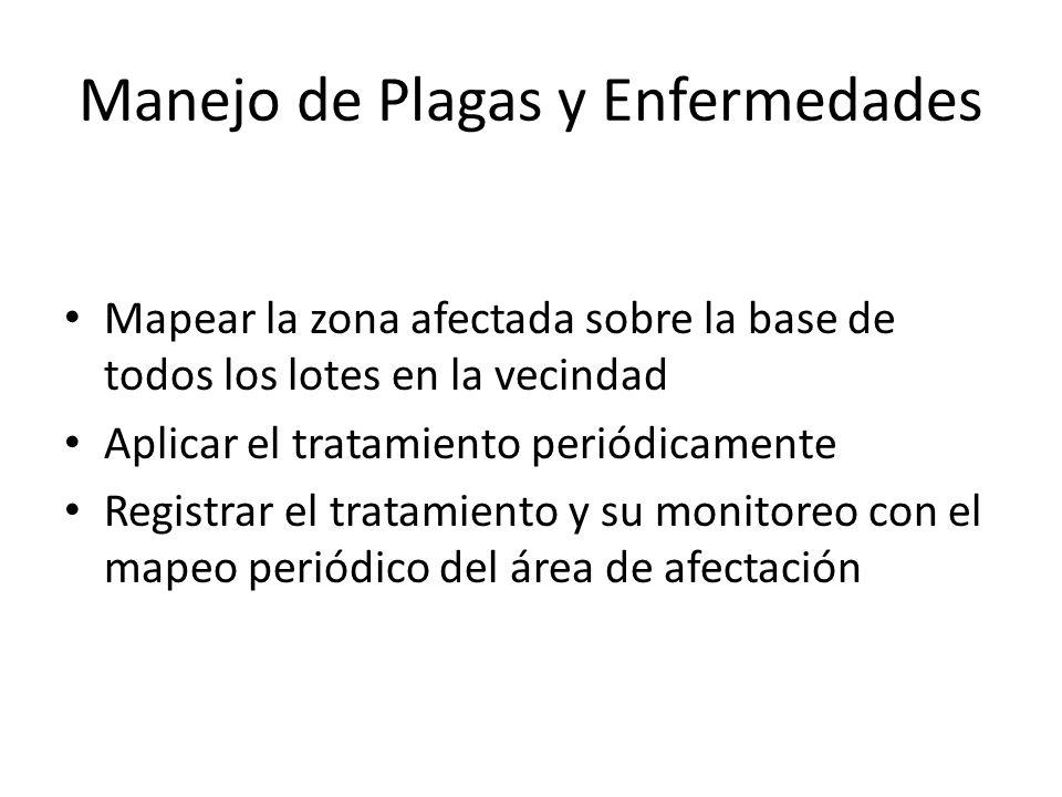 Manejo de Plagas y Enfermedades Mapear la zona afectada sobre la base de todos los lotes en la vecindad Aplicar el tratamiento periódicamente Registra