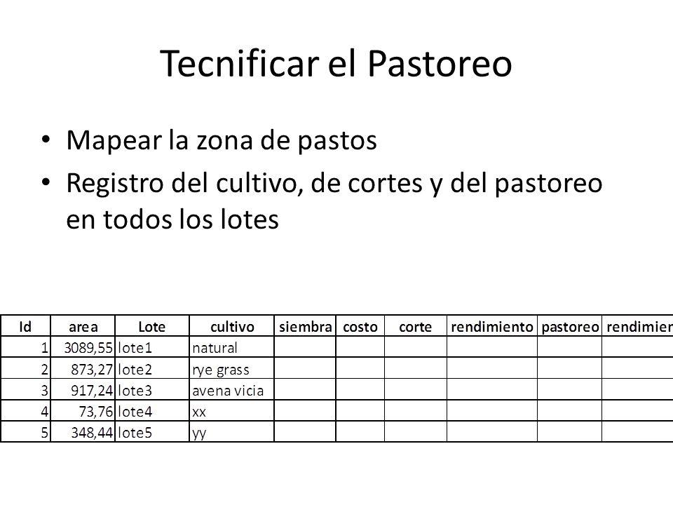 Tecnificar el Pastoreo Mapear la zona de pastos Registro del cultivo, de cortes y del pastoreo en todos los lotes