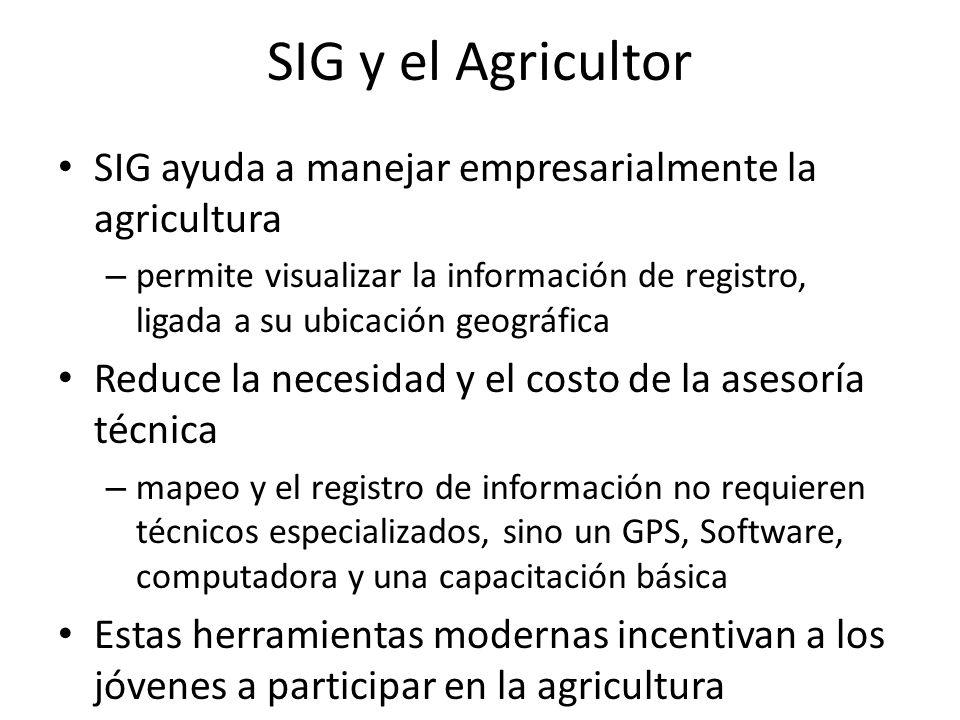 SIG y el Agricultor SIG ayuda a manejar empresarialmente la agricultura – permite visualizar la información de registro, ligada a su ubicación geográf
