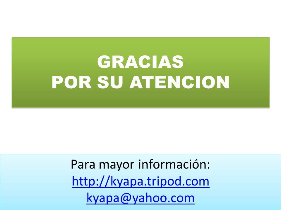 GRACIAS POR SU ATENCION Para mayor información: http://kyapa.tripod.com kyapa@yahoo.com Para mayor información: http://kyapa.tripod.com kyapa@yahoo.co