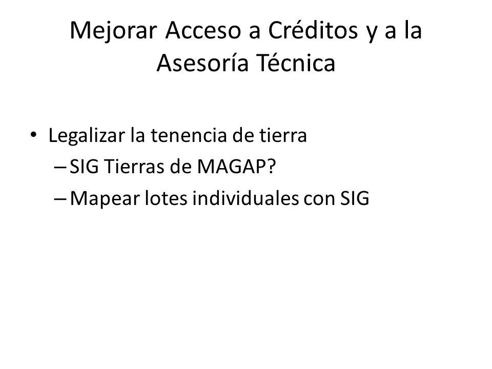 Mejorar Acceso a Créditos y a la Asesoría Técnica Legalizar la tenencia de tierra – SIG Tierras de MAGAP? – Mapear lotes individuales con SIG