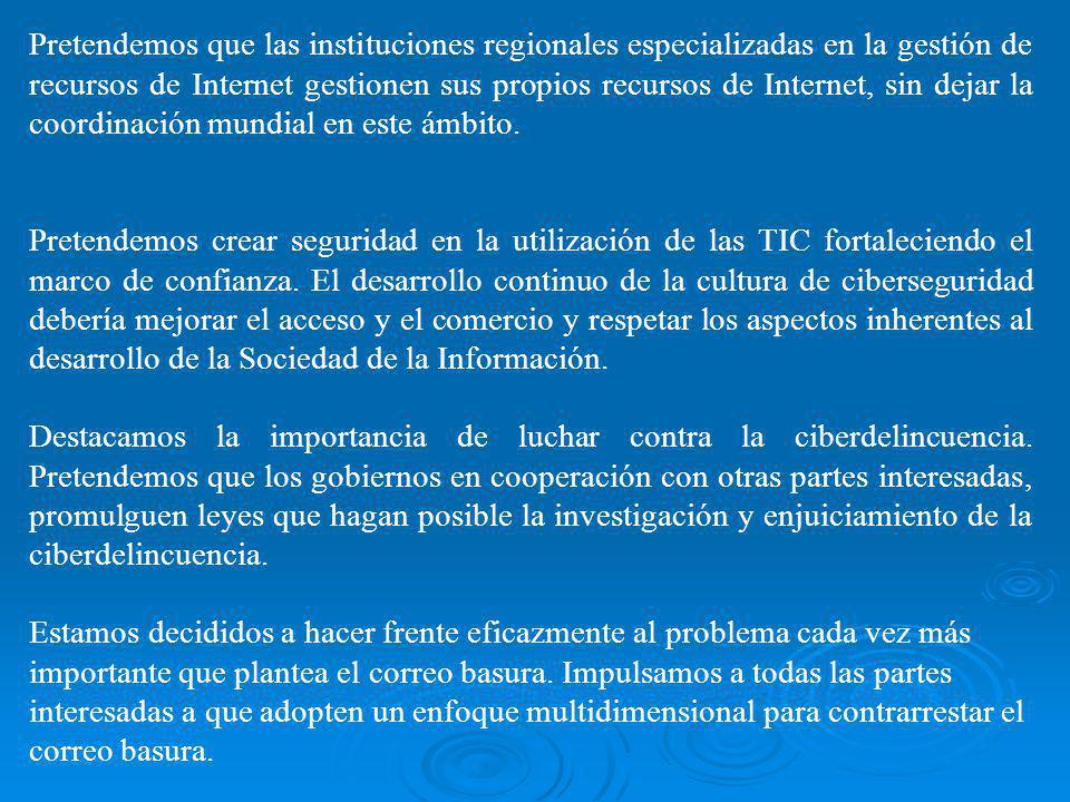 Pretendemos que las instituciones regionales especializadas en la gestión de recursos de Internet gestionen sus propios recursos de Internet, sin dejar la coordinación mundial en este ámbito.