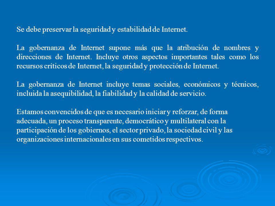 Se debe preservar la seguridad y estabilidad de Internet. La gobernanza de Internet supone más que la atribución de nombres y direcciones de Internet.