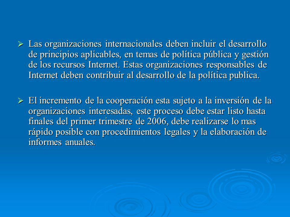 Las organizaciones internacionales deben incluir el desarrollo de principios aplicables, en temas de política pública y gestión de los recursos Internet.