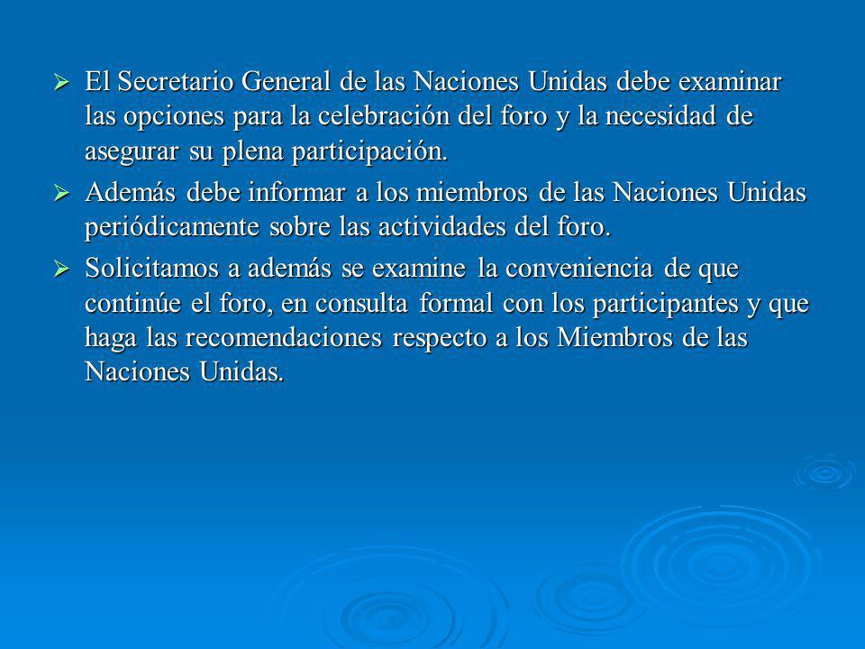 El Secretario General de las Naciones Unidas debe examinar las opciones para la celebración del foro y la necesidad de asegurar su plena participación.