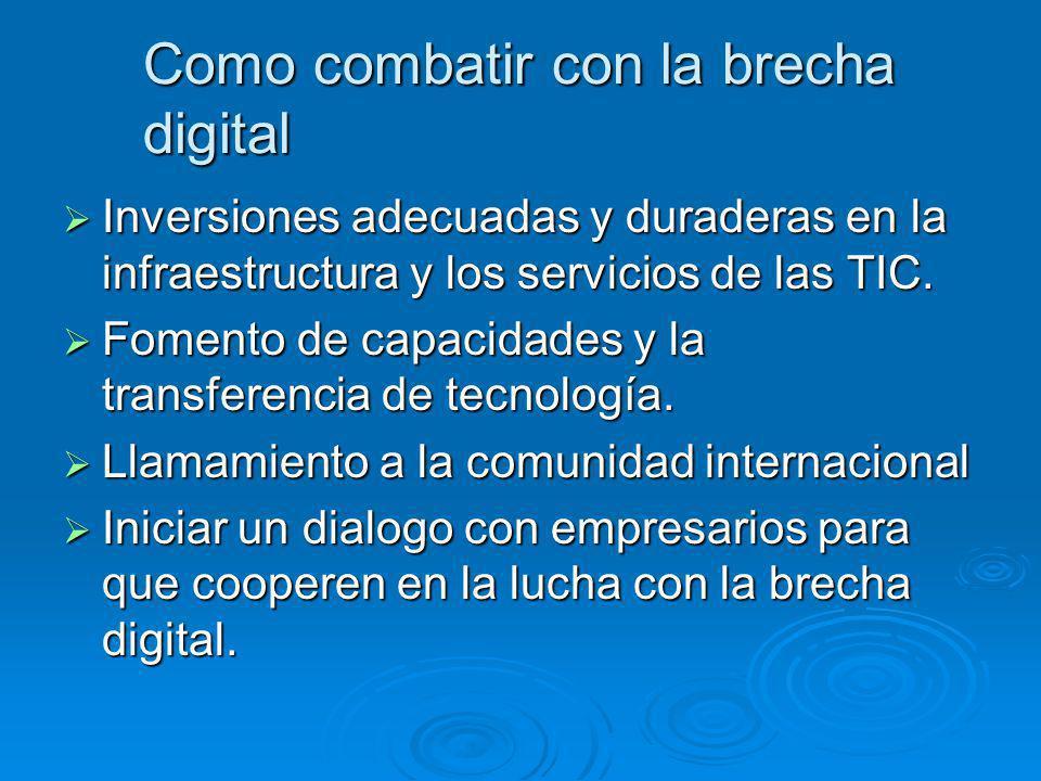 Como combatir con la brecha digital Inversiones adecuadas y duraderas en la infraestructura y los servicios de las TIC. Inversiones adecuadas y durade