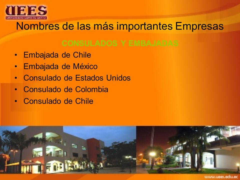Nombres de las más importantes Empresas CONSULADOS Y EMBAJADAS Embajada de Chile Embajada de México Consulado de Estados Unidos Consulado de Colombia Consulado de Chile