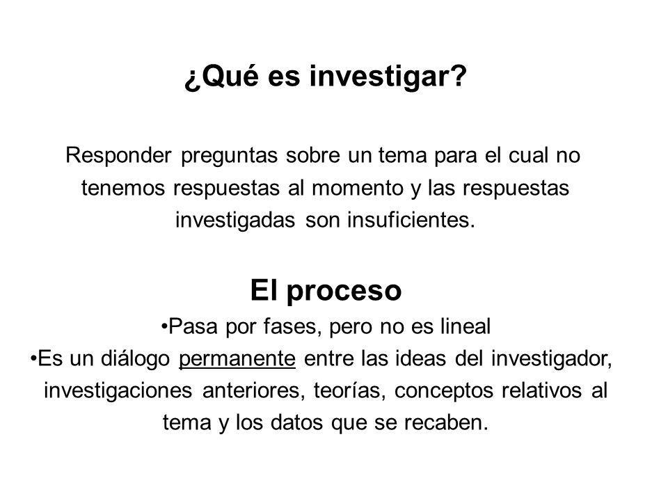 ¿Qué es investigar? Responder preguntas sobre un tema para el cual no tenemos respuestas al momento y las respuestas investigadas son insuficientes. E