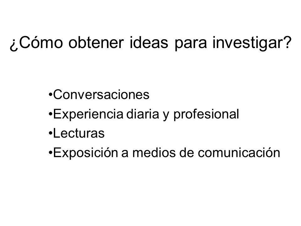 Conversaciones Experiencia diaria y profesional Lecturas Exposición a medios de comunicación ¿Cómo obtener ideas para investigar?