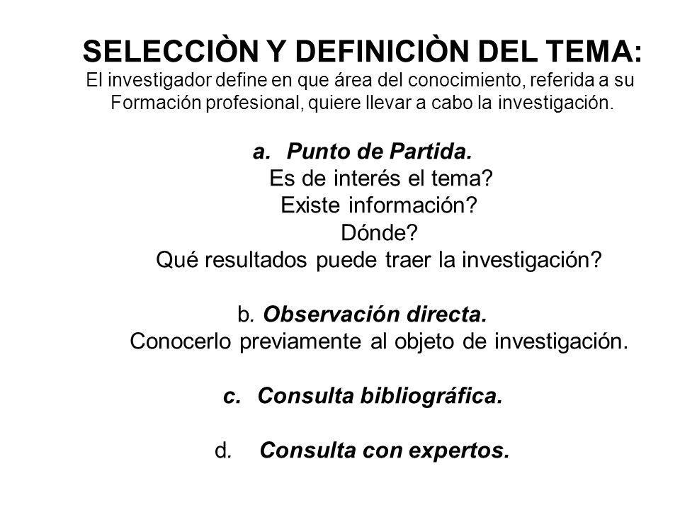 SELECCIÒN Y DEFINICIÒN DEL TEMA: El investigador define en que área del conocimiento, referida a su Formación profesional, quiere llevar a cabo la inv