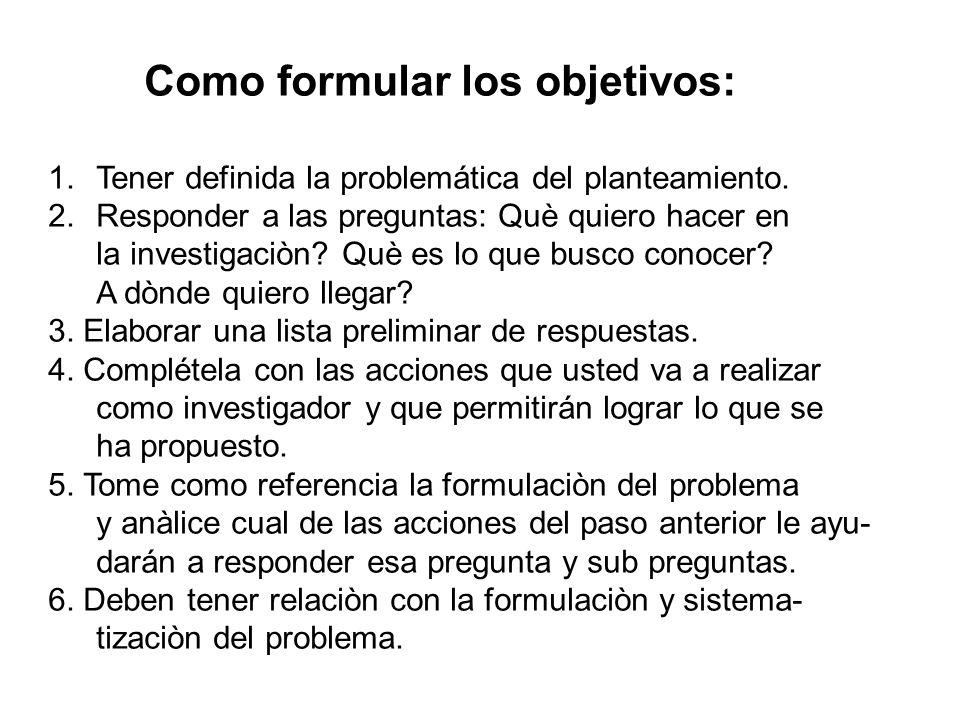 Como formular los objetivos: 1.Tener definida la problemática del planteamiento. 2.Responder a las preguntas: Què quiero hacer en la investigaciòn? Qu