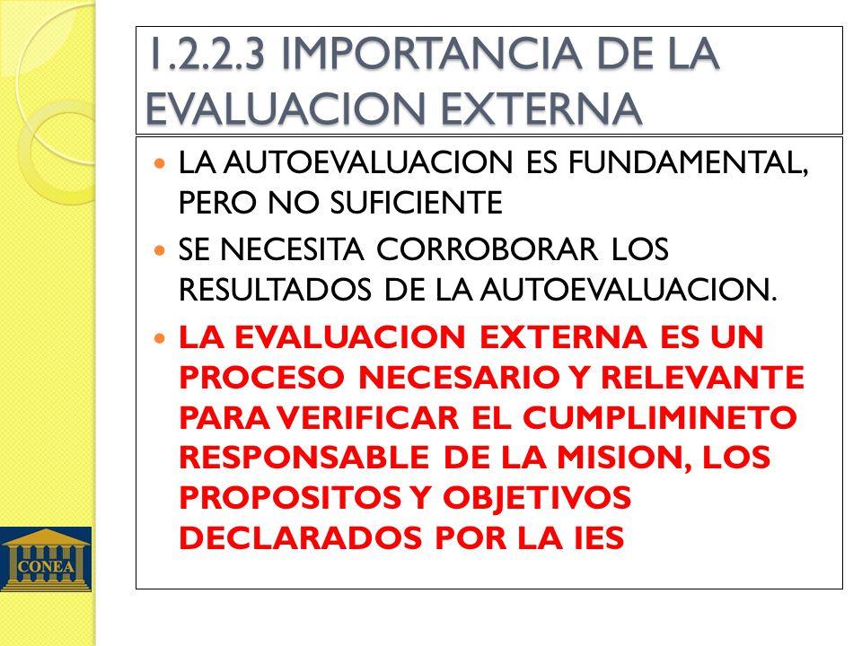 1.2.2.3 IMPORTANCIA DE LA EVALUACION EXTERNA LA AUTOEVALUACION ES FUNDAMENTAL, PERO NO SUFICIENTE SE NECESITA CORROBORAR LOS RESULTADOS DE LA AUTOEVAL