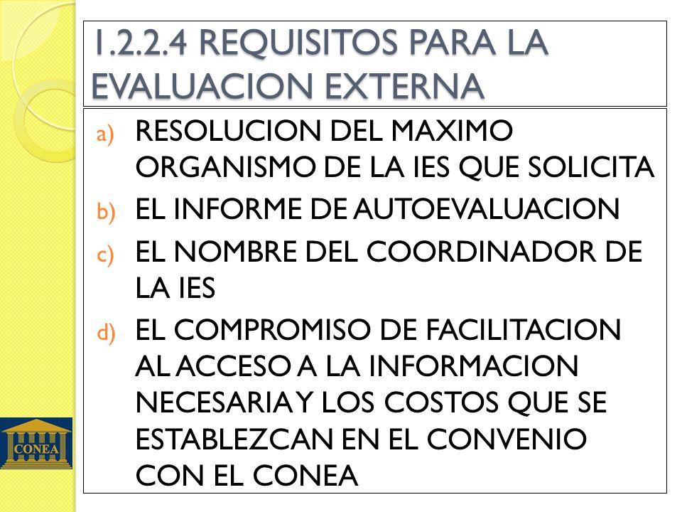 1.2.2.4 REQUISITOS PARA LA EVALUACION EXTERNA a) RESOLUCION DEL MAXIMO ORGANISMO DE LA IES QUE SOLICITA b) EL INFORME DE AUTOEVALUACION c) EL NOMBRE D