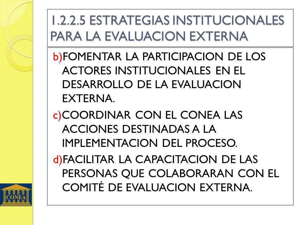 1.2.2.5 ESTRATEGIAS INSTITUCIONALES PARA LA EVALUACION EXTERNA b)FOMENTAR LA PARTICIPACION DE LOS ACTORES INSTITUCIONALES EN EL DESARROLLO DE LA EVALUACION EXTERNA.