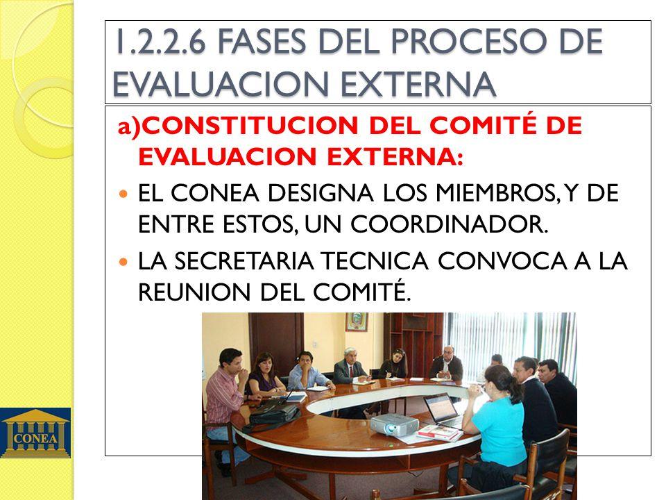 1.2.2.6 FASES DEL PROCESO DE EVALUACION EXTERNA a)CONSTITUCION DEL COMITÉ DE EVALUACION EXTERNA: EL CONEA DESIGNA LOS MIEMBROS, Y DE ENTRE ESTOS, UN COORDINADOR.