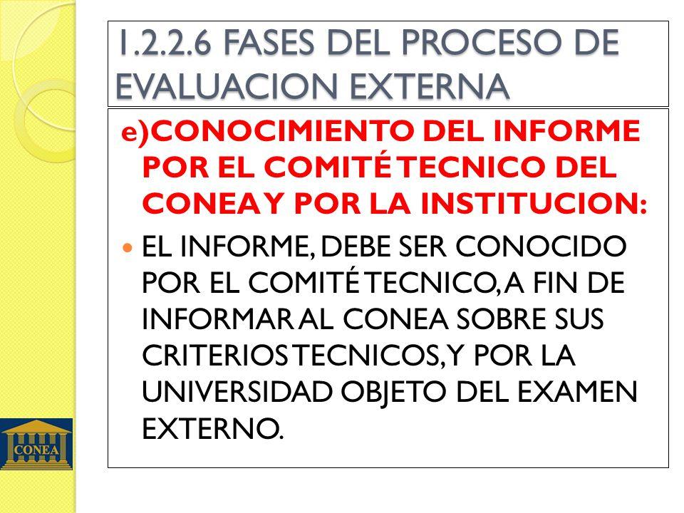 1.2.2.6 FASES DEL PROCESO DE EVALUACION EXTERNA e)CONOCIMIENTO DEL INFORME POR EL COMITÉ TECNICO DEL CONEA Y POR LA INSTITUCION: EL INFORME, DEBE SER CONOCIDO POR EL COMITÉ TECNICO, A FIN DE INFORMAR AL CONEA SOBRE SUS CRITERIOS TECNICOS, Y POR LA UNIVERSIDAD OBJETO DEL EXAMEN EXTERNO.