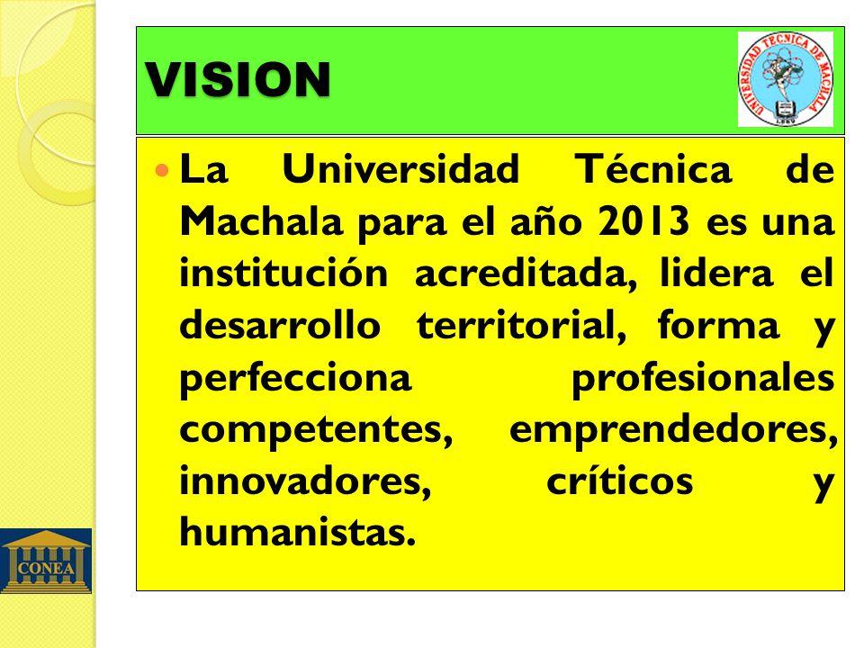 VISION La Universidad Técnica de Machala para el año 2013 es una institución acreditada, lidera el desarrollo territorial, forma y perfecciona profesi
