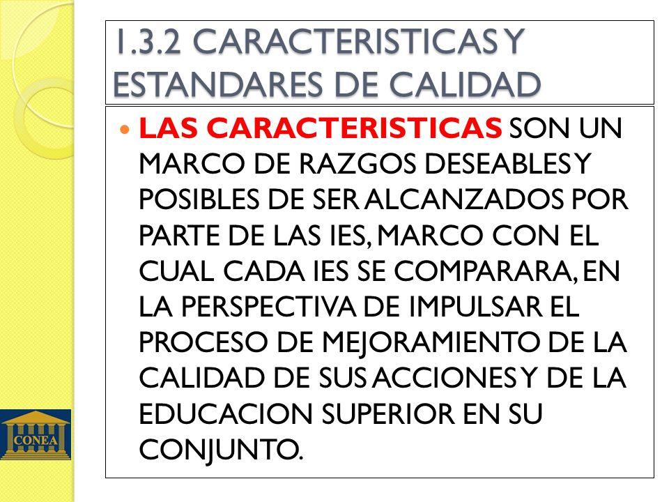 1.3.2 CARACTERISTICAS Y ESTANDARES DE CALIDAD LAS CARACTERISTICAS SON UN MARCO DE RAZGOS DESEABLES Y POSIBLES DE SER ALCANZADOS POR PARTE DE LAS IES, MARCO CON EL CUAL CADA IES SE COMPARARA, EN LA PERSPECTIVA DE IMPULSAR EL PROCESO DE MEJORAMIENTO DE LA CALIDAD DE SUS ACCIONES Y DE LA EDUCACION SUPERIOR EN SU CONJUNTO.