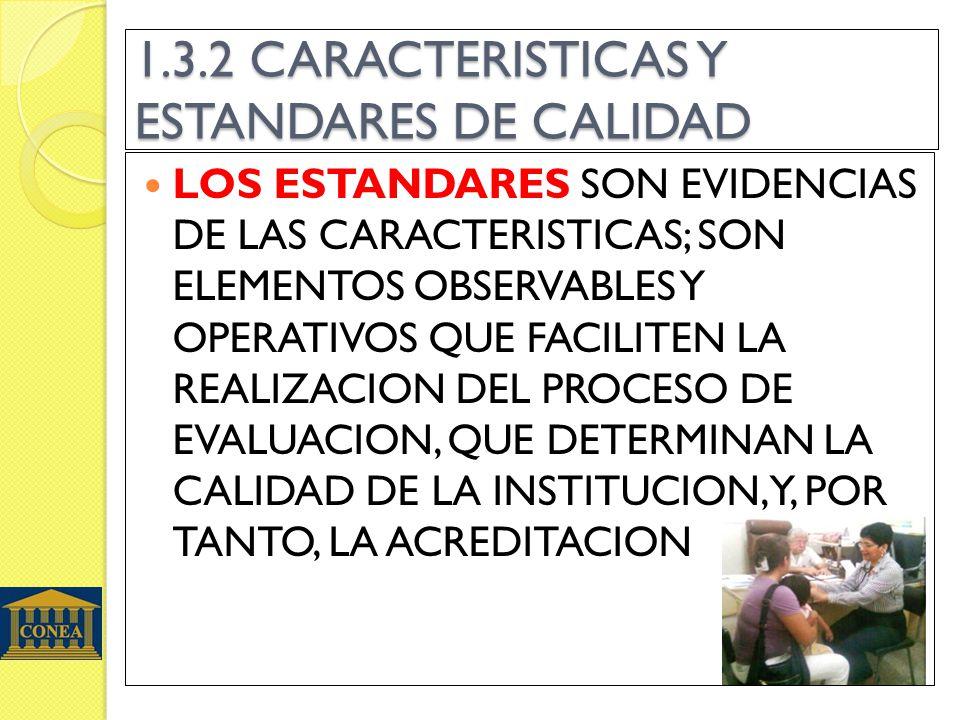 1.3.2 CARACTERISTICAS Y ESTANDARES DE CALIDAD LOS ESTANDARES SON EVIDENCIAS DE LAS CARACTERISTICAS; SON ELEMENTOS OBSERVABLES Y OPERATIVOS QUE FACILITEN LA REALIZACION DEL PROCESO DE EVALUACION, QUE DETERMINAN LA CALIDAD DE LA INSTITUCION,Y, POR TANTO, LA ACREDITACION