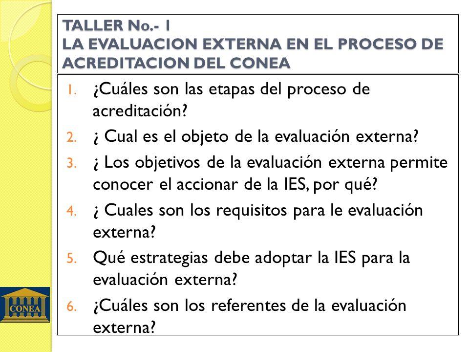 TALLER No.- 1 LA EVALUACION EXTERNA EN EL PROCESO DE ACREDITACION DEL CONEA 1. ¿Cuáles son las etapas del proceso de acreditación? 2. ¿ Cual es el obj
