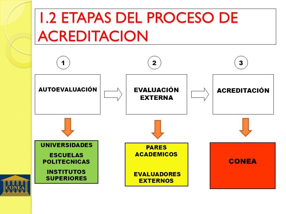 1.2 ETAPAS DEL PROCESO DE ACREDITACION AUTOEVALUACIÓN EVALUACIÓN EXTERNA ACREDITACIÓN 123 UNIVERSIDADES ESCUELAS POLITECNICAS INSTITUTOS SUPERIORES PARES ACADEMICOS EVALUADORES EXTERNOS CONEA