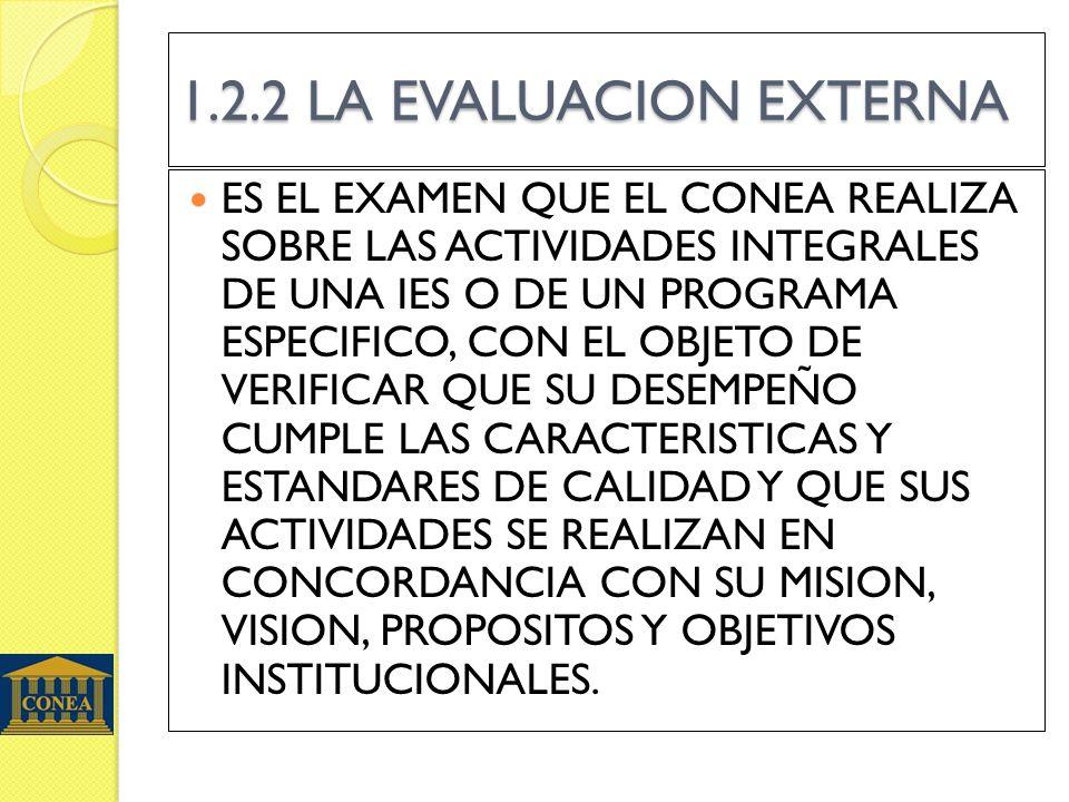 1.2.2 LA EVALUACION EXTERNA ES EL EXAMEN QUE EL CONEA REALIZA SOBRE LAS ACTIVIDADES INTEGRALES DE UNA IES O DE UN PROGRAMA ESPECIFICO, CON EL OBJETO DE VERIFICAR QUE SU DESEMPEÑO CUMPLE LAS CARACTERISTICAS Y ESTANDARES DE CALIDAD Y QUE SUS ACTIVIDADES SE REALIZAN EN CONCORDANCIA CON SU MISION, VISION, PROPOSITOS Y OBJETIVOS INSTITUCIONALES.
