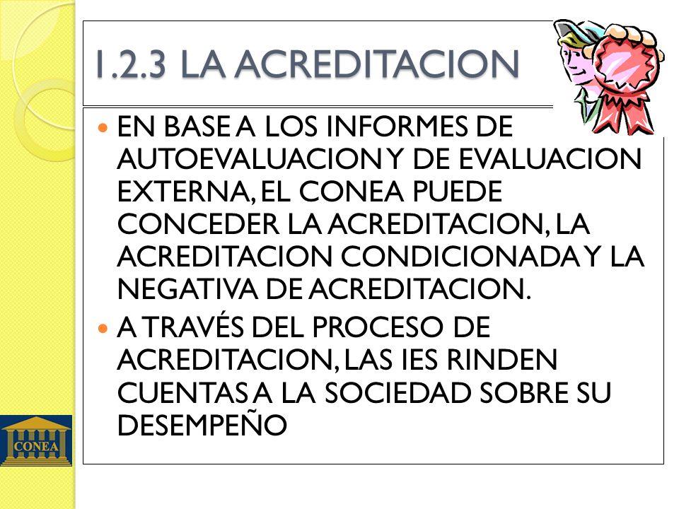 1.2.3 LA ACREDITACION EN BASE A LOS INFORMES DE AUTOEVALUACION Y DE EVALUACION EXTERNA, EL CONEA PUEDE CONCEDER LA ACREDITACION, LA ACREDITACION CONDI