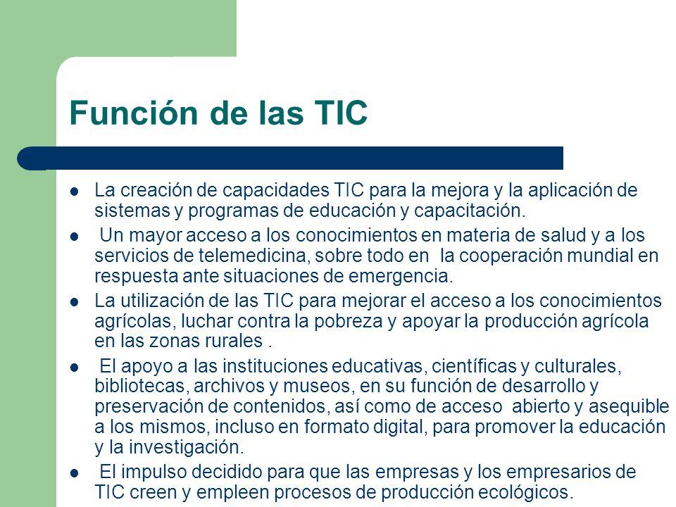 Función de las TIC La creación de capacidades TIC para la mejora y la aplicación de sistemas y programas de educación y capacitación. Un mayor acceso