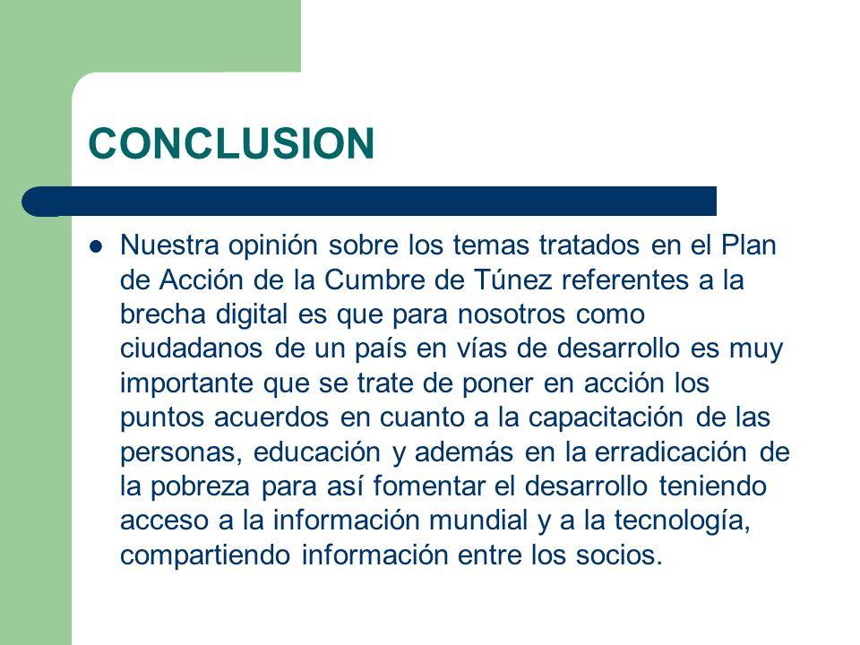 CONCLUSION Nuestra opinión sobre los temas tratados en el Plan de Acción de la Cumbre de Túnez referentes a la brecha digital es que para nosotros com