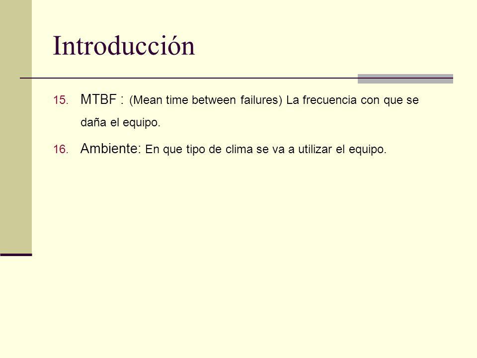 Introducción 15.MTBF : (Mean time between failures) La frecuencia con que se daña el equipo.