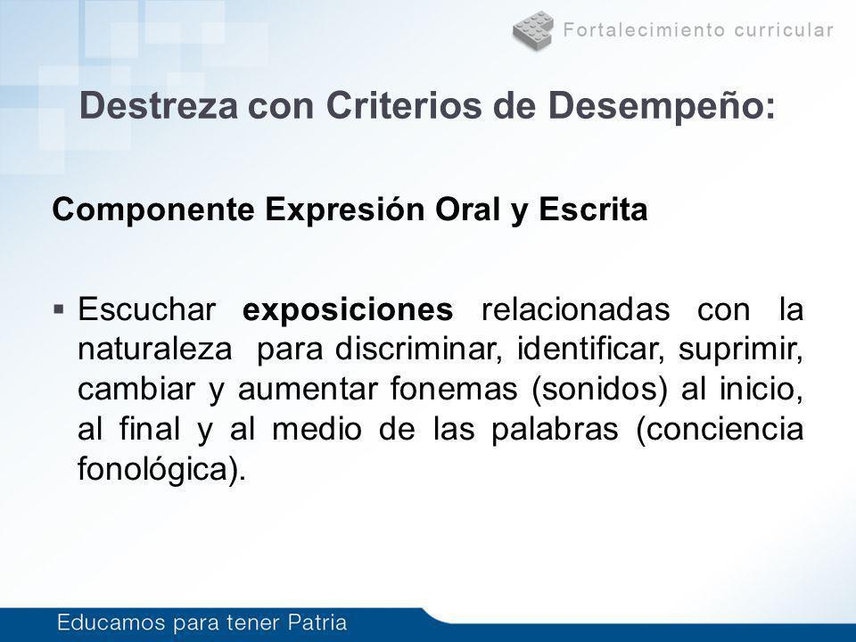 Destreza con Criterios de Desempeño: Componente Expresión Oral y Escrita Escuchar exposiciones relacionadas con la naturaleza para discriminar, identi