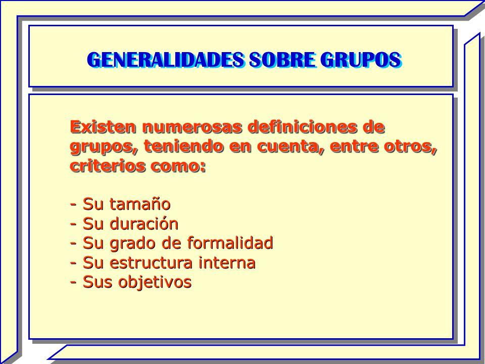 GENERALIDADES SOBRE GRUPOS Existen numerosas definiciones de grupos, teniendo en cuenta, entre otros, criterios como: - Su tamaño - Su duración - Su g