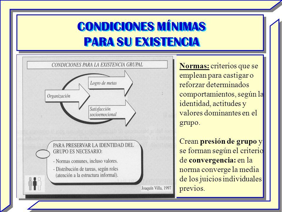 CONDICIONES MÍNIMAS PARA SU EXISTENCIA CONDICIONES MÍNIMAS PARA SU EXISTENCIA Normas: criterios que se emplean para castigar o reforzar determinados c
