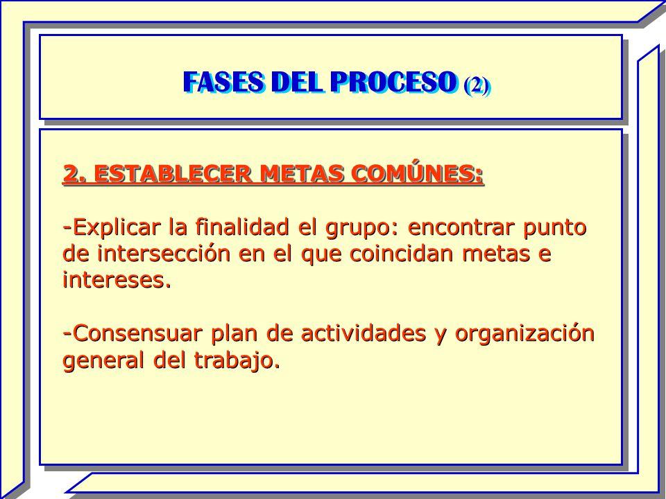 FASES DEL PROCESO (2) 2. ESTABLECER METAS COMÚNES: -Explicar la finalidad el grupo: encontrar punto de intersección en el que coincidan metas e intere
