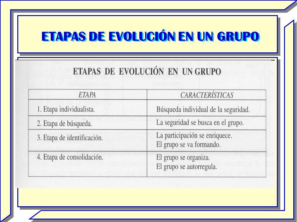 ETAPAS DE EVOLUCIÓN EN UN GRUPO