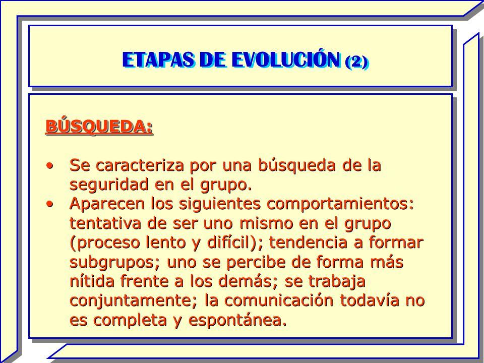 ETAPAS DE EVOLUCIÓN (2) BÚSQUEDA: Se caracteriza por una búsqueda de la seguridad en el grupo. Aparecen los siguientes comportamientos: tentativa de s
