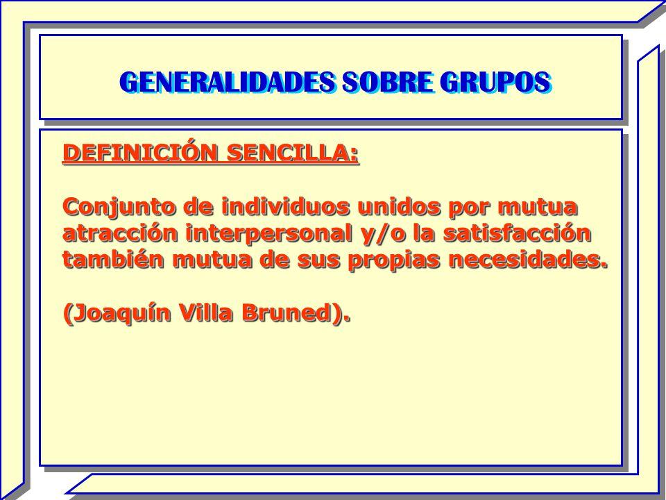 GENERALIDADES SOBRE GRUPOS DEFINICIÓN SENCILLA: Conjunto de individuos unidos por mutua atracción interpersonal y/o la satisfacción también mutua de s