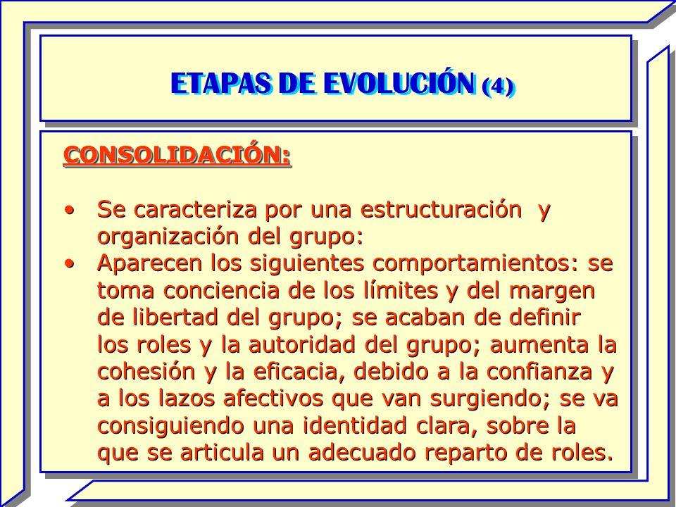 ETAPAS DE EVOLUCIÓN (4) CONSOLIDACIÓN: Se caracteriza por una estructuración y organización del grupo: Aparecen los siguientes comportamientos: se tom