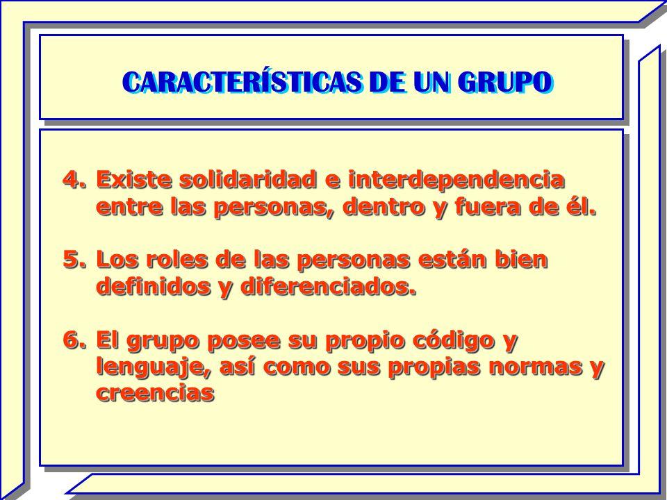 CARACTERÍSTICAS DE UN GRUPO 4.Existe solidaridad e interdependencia entre las personas, dentro y fuera de él. 5.Los roles de las personas están bien d