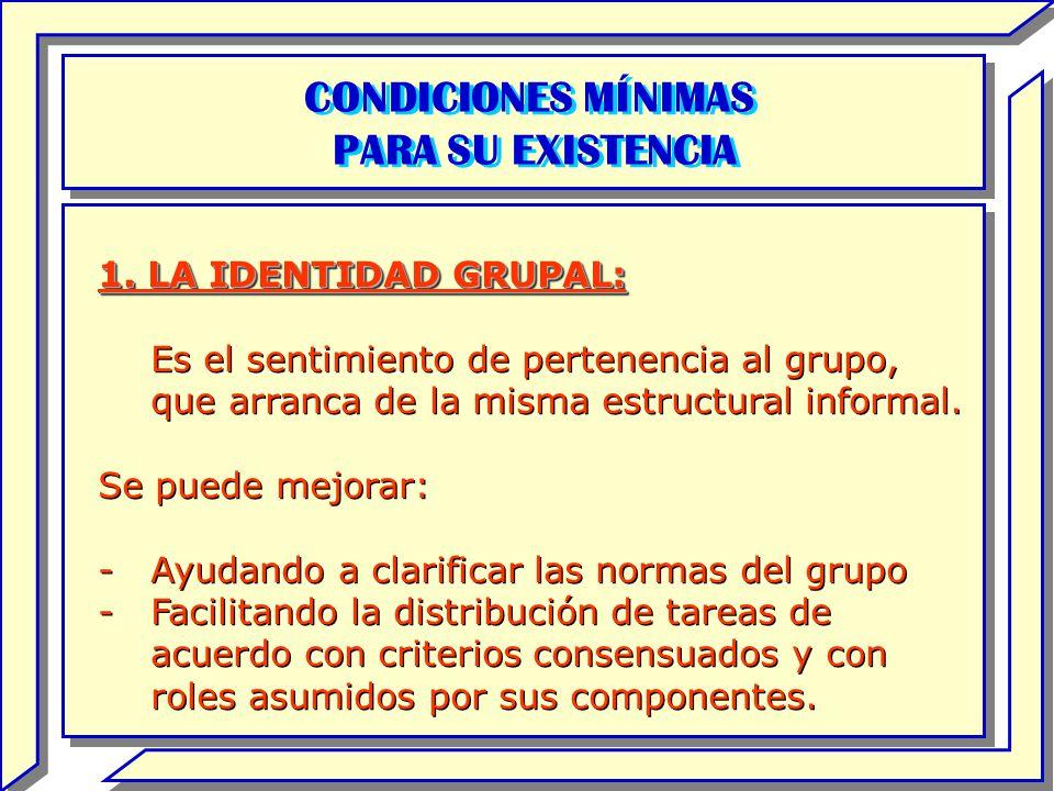 CONDICIONES MÍNIMAS PARA SU EXISTENCIA CONDICIONES MÍNIMAS PARA SU EXISTENCIA 1. LA IDENTIDAD GRUPAL: Es el sentimiento de pertenencia al grupo, que a