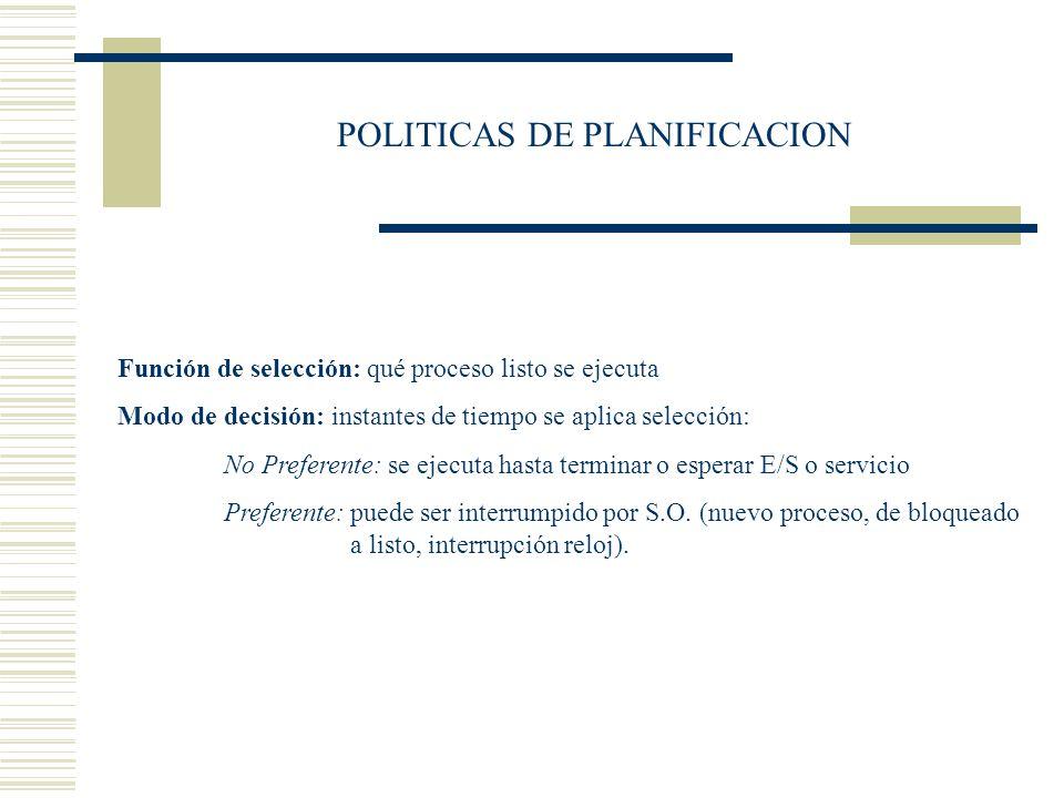 POLITICAS DE PLANIFICACION Función de selección: qué proceso listo se ejecuta Modo de decisión: instantes de tiempo se aplica selección: No Preferente