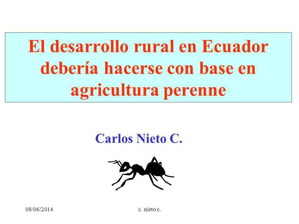 El desarrollo rural en Ecuador debería hacerse con base en agricultura perenne Carlos Nieto C.