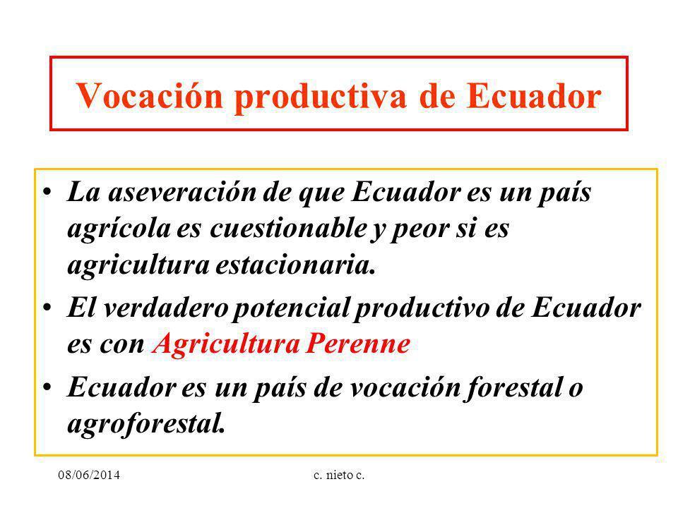 Vocación productiva de Ecuador La aseveración de que Ecuador es un país agrícola es cuestionable y peor si es agricultura estacionaria. El verdadero p