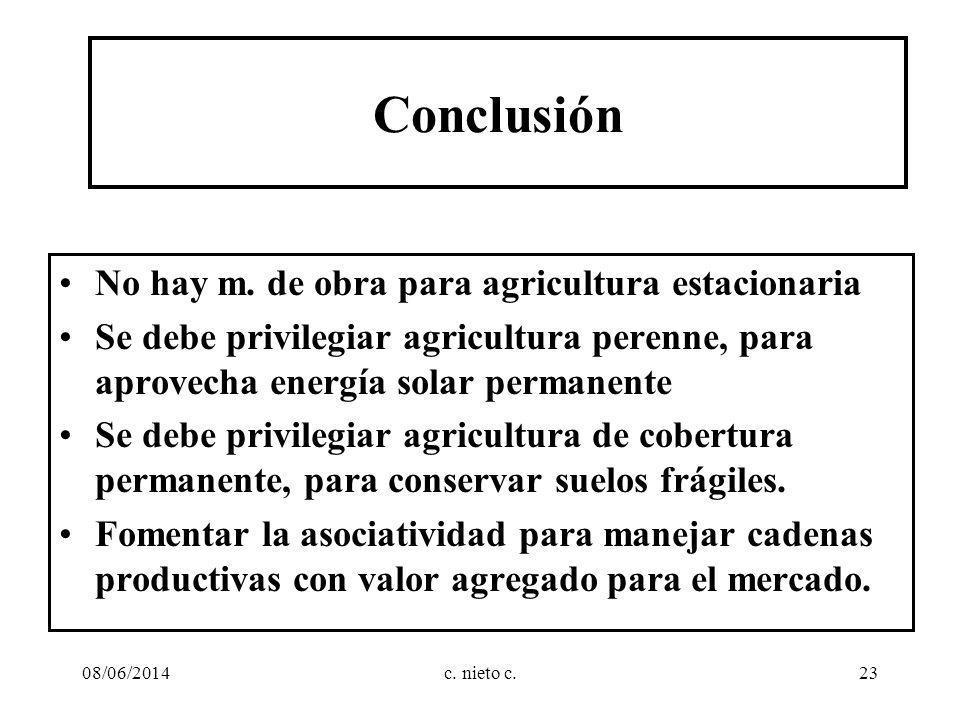 Conclusión No hay m. de obra para agricultura estacionaria Se debe privilegiar agricultura perenne, para aprovecha energía solar permanente Se debe pr