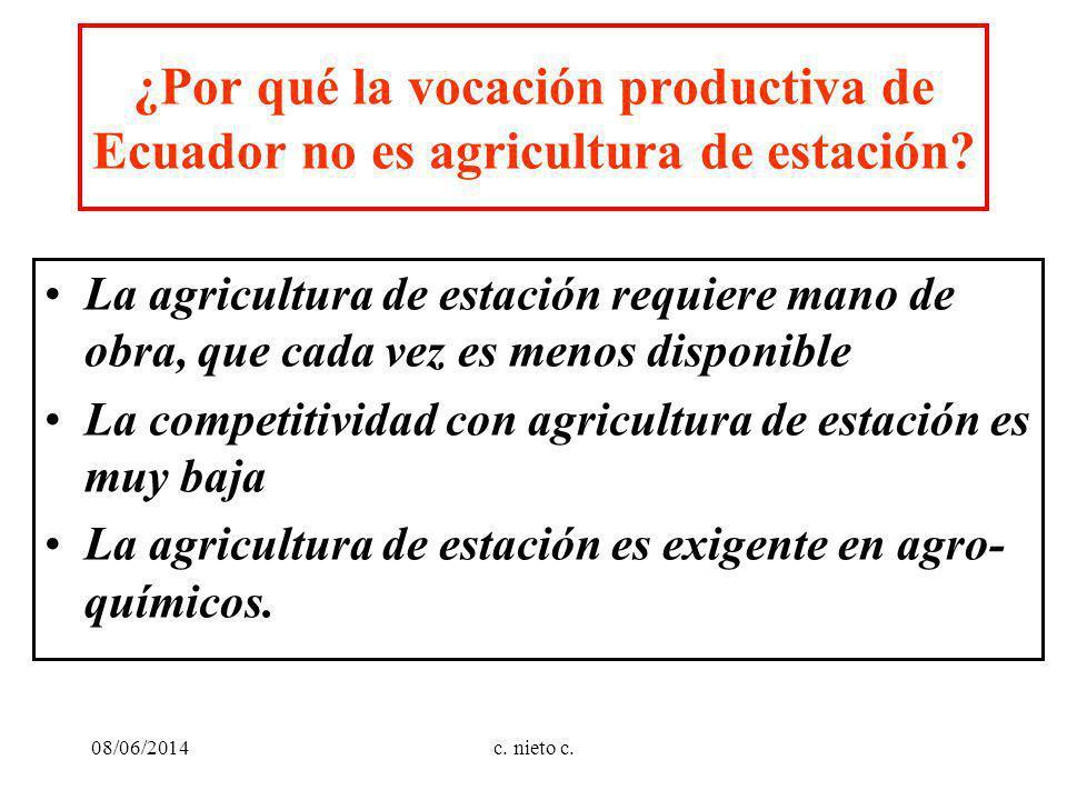 ¿Por qué la vocación productiva de Ecuador no es agricultura de estación? La agricultura de estación requiere mano de obra, que cada vez es menos disp