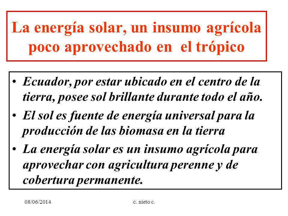 c. nieto c. La energía solar, un insumo agrícola poco aprovechado en el trópico Ecuador, por estar ubicado en el centro de la tierra, posee sol brilla