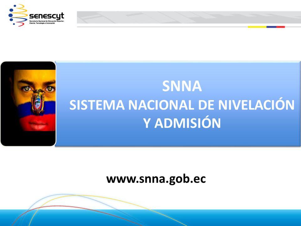 SNNA SISTEMA NACIONAL DE NIVELACIÓN Y ADMISIÓN SNNA SISTEMA NACIONAL DE NIVELACIÓN Y ADMISIÓN www.snna.gob.ec