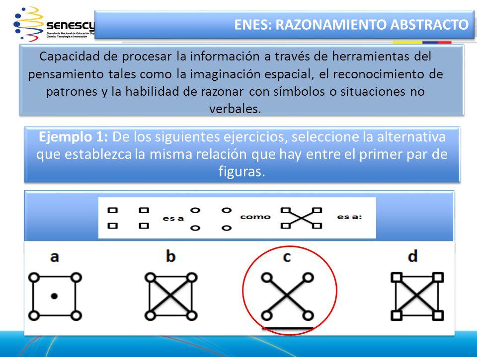 Ejemplo 1: De los siguientes ejercicios, seleccione la alternativa que establezca la misma relación que hay entre el primer par de figuras. ENES: RAZO